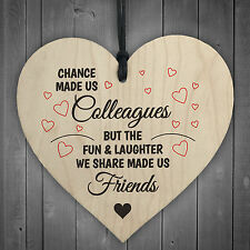 Colleagues Fun and Laughter Novelty Wooden Hanging Heart Leaving Gift Plaque
