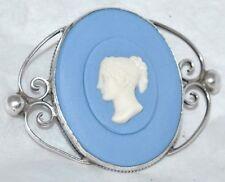 Vintage Sterling Blue Jasperware Wedgwood Ornate Roman Woman Profile Brooch