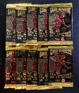 10 PACKS OF 1995-96 PINNACLE McDONALD'S HOCKEY CARDS 3-D GAME WINNERS UNOPENED