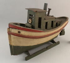 Antique Early 20thC Folk Art Carved & Painted Tug Boat, Boat Ship Model, Nr