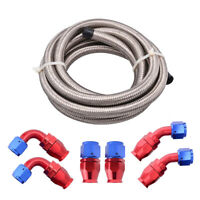 Braided PTFE E85 Ethanol Fuel Hose Brake Line 6AN 8AN 10AN PTFE Hose Fitting Kit