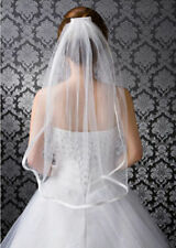 1 Tier White Bridal Wedding Veil Elbow Length with Comb Handmade