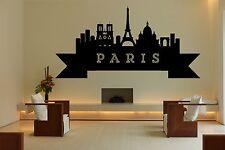 Wall Vinyl Sticker Decal Skyline Horizon Panorama City Paris France World F1767
