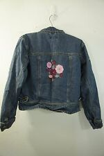 AMERICAN GIRL Denim Jean Jacket size XL Embroidered Pink Floral 100% Cotton zip