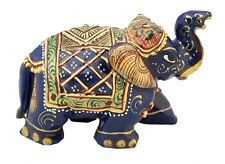 Lapis Lazuli Stone Elephant Covered by Gold Foil Painting Natural Gemstone