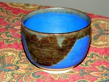 Mid Century Modern Blue & Gunmetal Large Yuomi Tea Bowl Stamped Chopmark