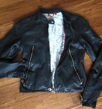 DOMA Black Leather Jacket Blue Silky Lining Unique Zippers Small S