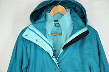 LL BEAN Womens Turquoise Blue 3 In 1 Hooded Fleece Cold Weather Jacket Coat M