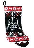 "DISNEY STAR WARS DARTH VADER Christmas Stocking 20"" Yarn Knit Black Holiday NWT"