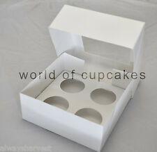 4 Hole Cupcake Cup Cakes Clear Window White Boxes Box 6 cm Diameter set of 5