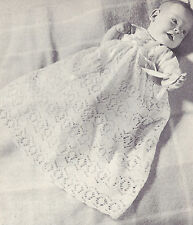 Vintage Knitting PATTERN to make Baby Christening Gown Long Short Dress Lace Chr