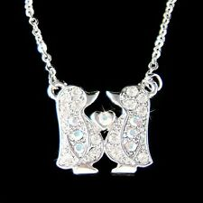 w Swarovski Crystal Emperor ~Penguin Lover Antarctica Love Heart Family Necklace