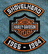 "4"" SHOVELHEAD 66-84 ROCKER SET & HARLEY DAVIDSON MOTORCYCLE BIKER CENTER PATCH"