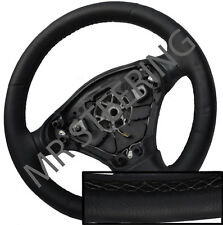 FOR TOYOTA VERSO 2009+ BLACK ITALIAN LEATHER STEERING WHEEL COVER GREY STITCH