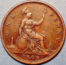 1866 United Kingdom. One Penny  . Victoria Queen . A253