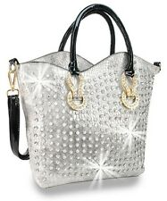 Rhinestone Accented Unique Snake Embossed Fashion Tote Silver