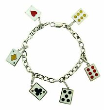 BLACKJACK! 18k White Gold, Enamel & Diamond Cards & Domino Charm Bracelet!
