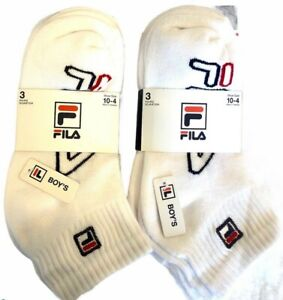Fila Boys Two 3 Pack White Quarter Ankle Socks Shoe Size 10-4 NWT