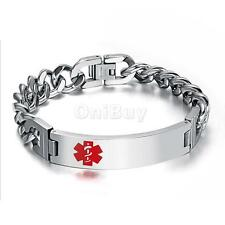 Stainless Steel Chain Red Medical Symbol Alert ID Bracelet Wrist Band Bangle