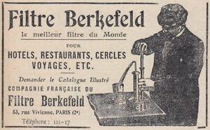 V6397 Filter Berkefeld Pour Hotels - 1911 Vintage Advertising - Classic