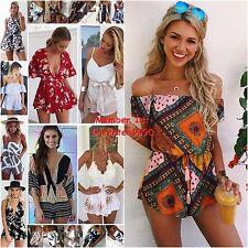 Womens Boho Totem Playsuit Jumpsuit Summer Beach Wear Sundress Shorts Romper Lot