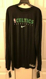 Nike Boston Celtics NBA Dri-Fit Long Sleeve Shirt Black CD2660-010 Men's XL NWT