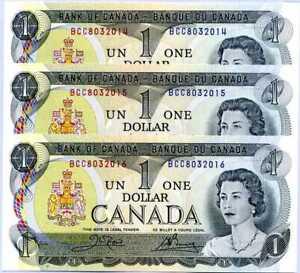 Canada 1 Dollar ND 1973 P 85 c Sign Crow-Bouey UNC LOT 3 PCS