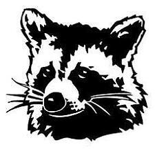 "Racoon~ Vinyl Sticker Decal Macbook Laptop Car Window 4"" Black or White"