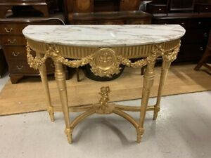 Good Quality French Gold Gilt & Marble Topped Demi Lune Console Table