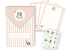 Snails & Pigtails Girl's Letter Writing Stationery - Paper, Envelopes, Stickers