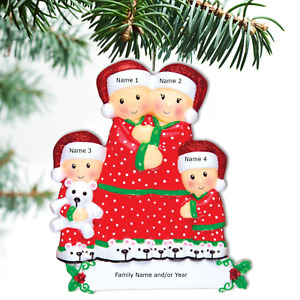 Personalized Family Ornament Pajama Family Christmas Ornament Family of 3 4 5 6