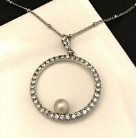 Vintage Monet Necklace Simulated Pearl Crystals Silver Tone Pendant 7D