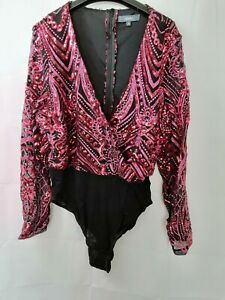 Studio Pink & Black Sequin Bodysuit Size 16 New Without Tags