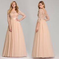 UK Ever-Pretty Lace Sleeve Long Evening Party Gown Mermaid Mother Of Bride Dress