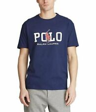 NWT MENS polo RALPH LAUREN SHORT SLEEVE BIG PONY GRAPHIC T SHIRT LARGE NAVY