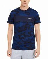 G-Star Raw Mens T-Shirt Blue Size XL Crewneck Camo Print Logo Tee $45 #196