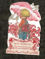 """Vintage PULL-DOWN Valentine """"I NEED A WIFE"""" Carpenter with Tools Hammer & Saw"""
