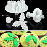 Holly Leaf Plunger Designed Cake Pastry Sugarcraft Cutter Fondant Decorating