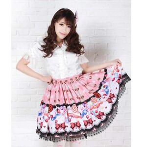 Sweet Pink Lollipop japanese lolita fashion black lace polyester mini skirt