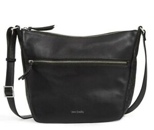 "Vera Bradley Black Sycamore Leather shoulder/crossbody bag 12"" NWTS $219"