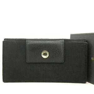BVLGARI Black Canvas Leather Long Bifold Wallet /E1580