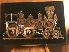 One of a kind VINTAGE HAND MADE WALL DECOR COPPER ON WOOD PLAQUE Train Scene0598