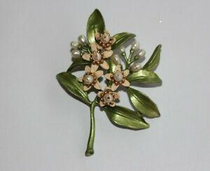 Designer MICHAEL MICHAUD Fresh Water Pearl Orange Blossom Pin Brooch 5972