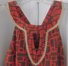 MILLY OF NEW YORK Halter Keyhole Rope Detail Orange Brown Dress Size 8 w defect