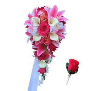 Cascading Wedding Bouquet and Boutonniere - Shades of Pink Artificial Flowers