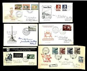 YOUGOSLAVIA 1951/54 --6 x CV /FDC --TO HOLLAND --F/VF -- @1