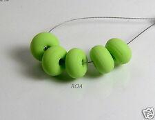 Roa Lampwork 5 Matte Turquoise Handmade Art Glass 7 X 11 Mm Spacer Beads SRA