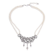 NEW * Anthropologie Silver Mercier Rhinestone Pearl Strand Necklace