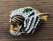 Vintage Gold Tone Rhinestone & Enamel Tiger Head  Brooch Pin  (71)