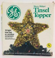 Vintage Ge Merry Midget Christmas Tinsel Star Tree Topper Widow Decoration